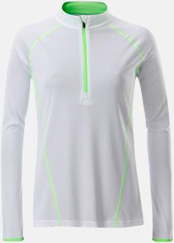 Vit/Bright Green (dam) Långärmade löpartröjor med reklamtryck