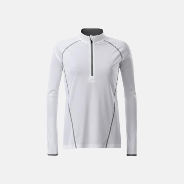 Vit/Silver (dam) Långärmade löpartröjor med reklamtryck