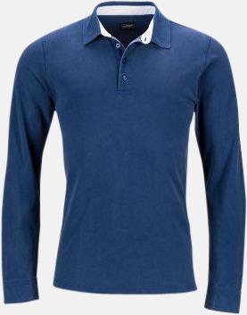 Marinblå/Vit-Ljusblå (herr) Långärmade herr- & dampikéer i worn style med reklamtryck