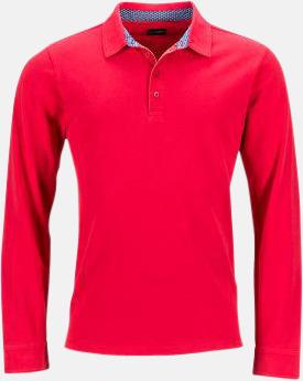 Röd/Blå-Vit (herr) Långärmade herr- & dampikéer i worn style med reklamtryck