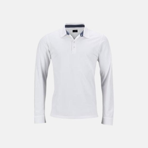 Vit/Marinblå-Vit (herr) Långärmade herr- & dampikéer i worn style med reklamtryck