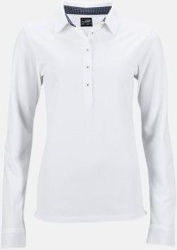 Vit/Marinblå-Vit (dam) Långärmade herr- & dampikéer i worn style med reklamtryck