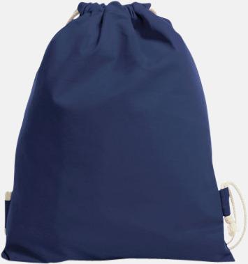 Marinblå Gympapåsar i bomull med reklamtryck