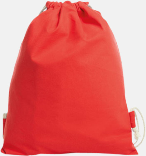 Röd Gympapåsar i bomull med reklamtryck