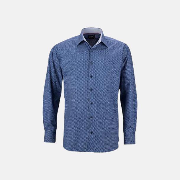 Blå/Vit (herr) Finmönstrade skjortor och blusar med reklamtryck