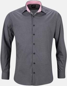 Titanium/Vit (herr) Finmönstrade skjortor och blusar med reklamtryck