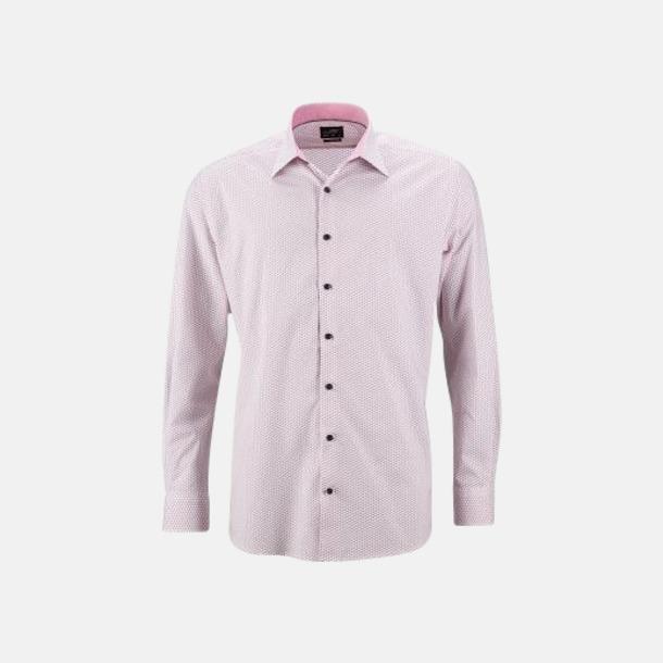 Vit/Röd (herr) Finmönstrade skjortor och blusar med reklamtryck