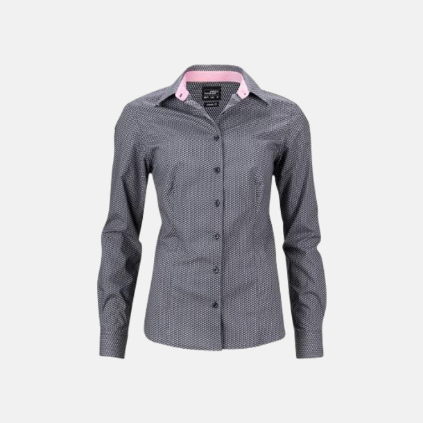 Titanium/Vit (dam) Finmönstrade skjortor och blusar med reklamtryck