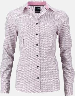 Vit/Röd (dam) Finmönstrade skjortor och blusar med reklamtryck