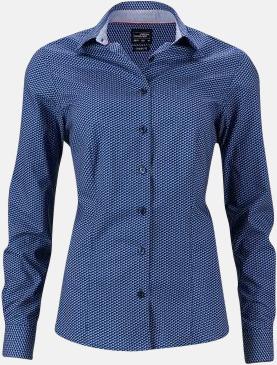 Blå/Vit (dam) Finmönstrade skjortor och blusar med reklamtryck