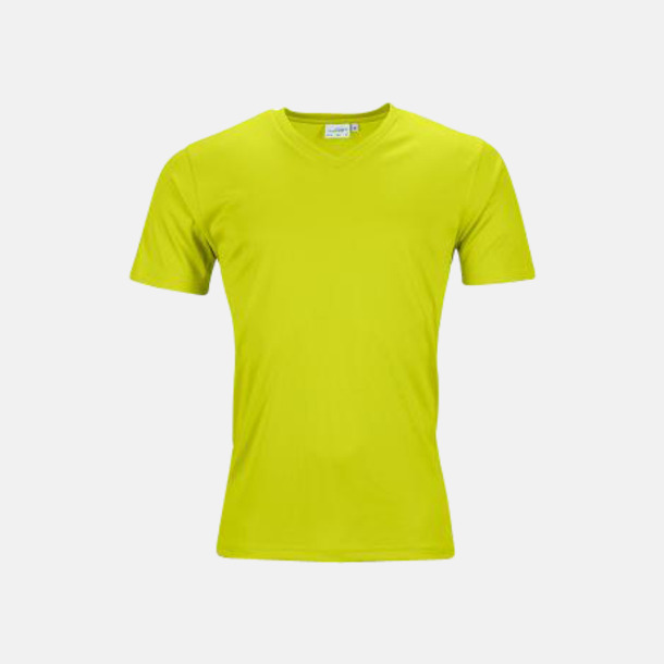 Acid Yellow (herr) V-ringade funktionströjor i herr- & dammodell med reklamtryck