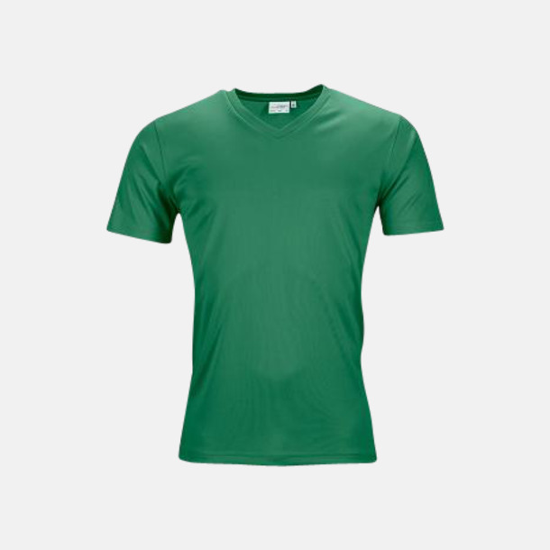 Grön (herr) V-ringade funktionströjor i herr- & dammodell med reklamtryck