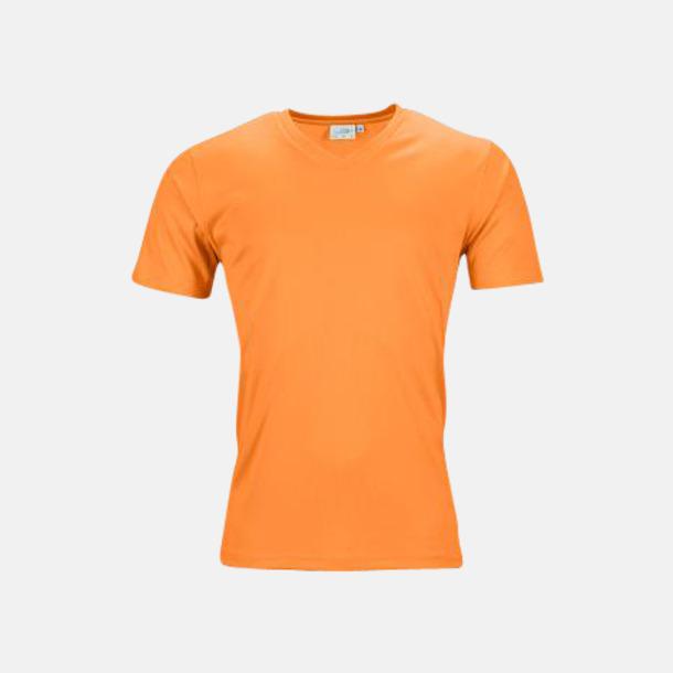 Orange (herr) V-ringade funktionströjor i herr- & dammodell med reklamtryck