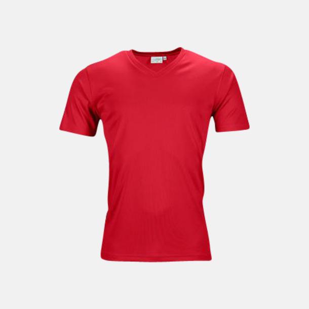 Röd (herr) V-ringade funktionströjor i herr- & dammodell med reklamtryck