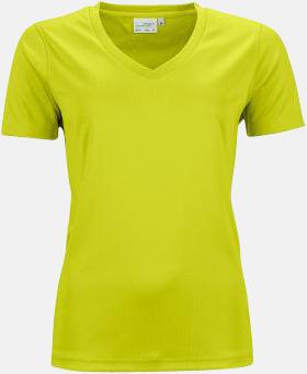 Acid Yellow (dam) V-ringade funktionströjor i herr- & dammodell med reklamtryck