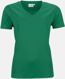 Grön (dam) V-ringade funktionströjor i herr- & dammodell med reklamtryck