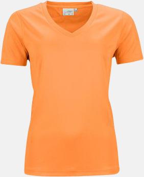 Orange (dam) V-ringade funktionströjor i herr- & dammodell med reklamtryck