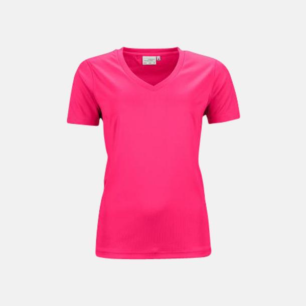 Rosa (dam) V-ringade funktionströjor i herr- & dammodell med reklamtryck