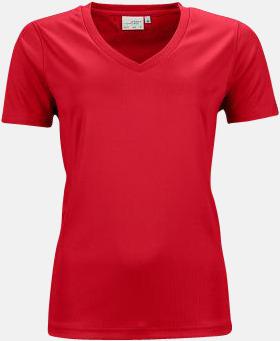 Röd (dam) V-ringade funktionströjor i herr- & dammodell med reklamtryck
