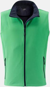 Grön/Marinblå (herr) Billigare softshell-västar med reklamtryck