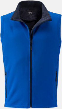 Nautic Blue/Marinblå (herr) Billigare softshell-västar med reklamtryck