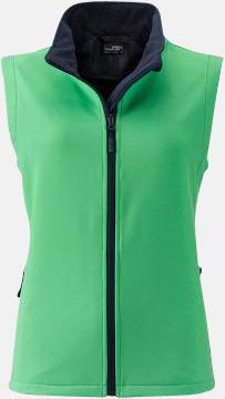 Grön/Marinblå (dam) Billigare softshell-västar med reklamtryck