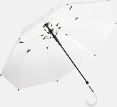 Vit Genomsynliga paraplyer med färgkontraster med reklamtryck
