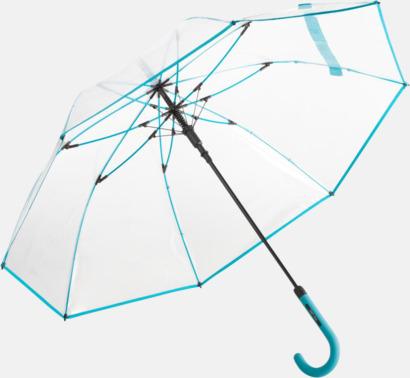 Petrol Genomsynliga paraplyer med färgkontraster med reklamtryck