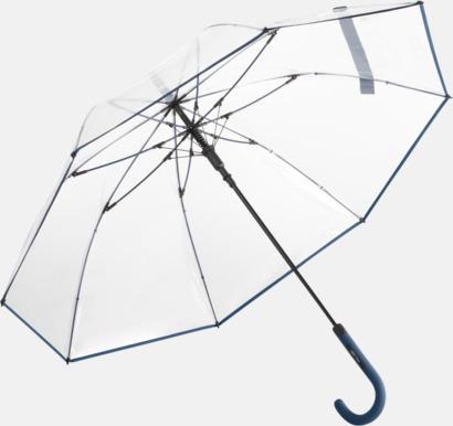 Marinblå Genomsynliga paraplyer med färgkontraster med reklamtryck