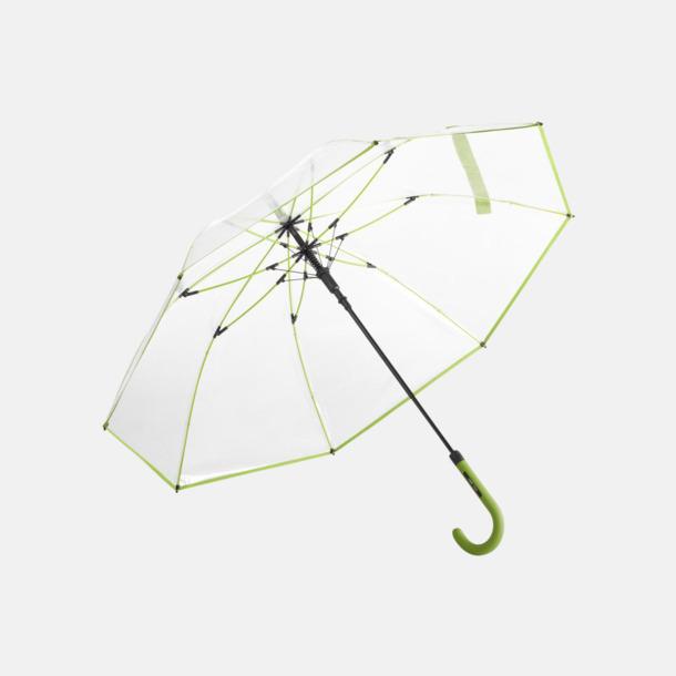 Lime Genomsynliga paraplyer med färgkontraster med reklamtryck