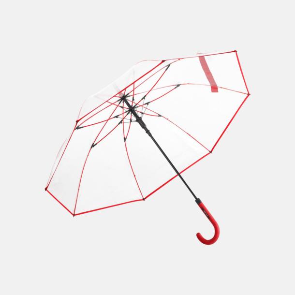 Röd Genomsynliga paraplyer med färgkontraster med reklamtryck