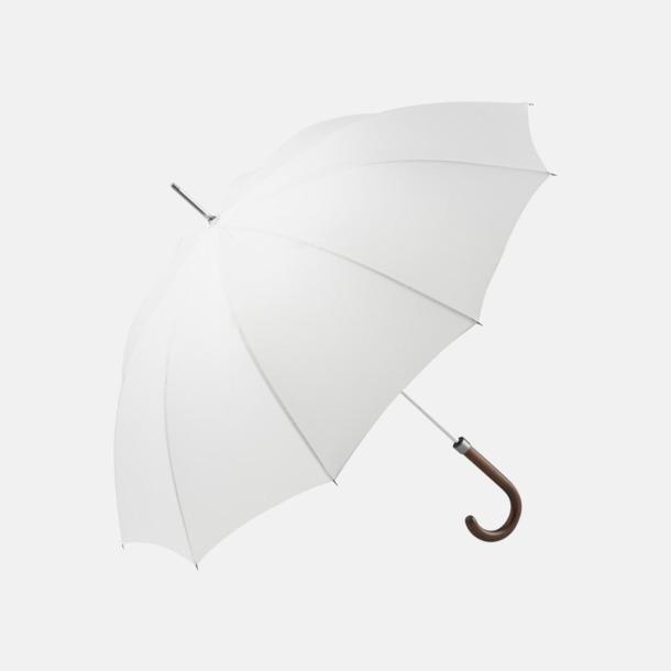 Vit Eleganta FARE-paraplyer med reklamtryck