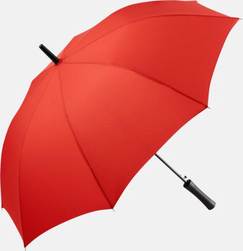 Röd FARE-paraplyer med reklamtryck