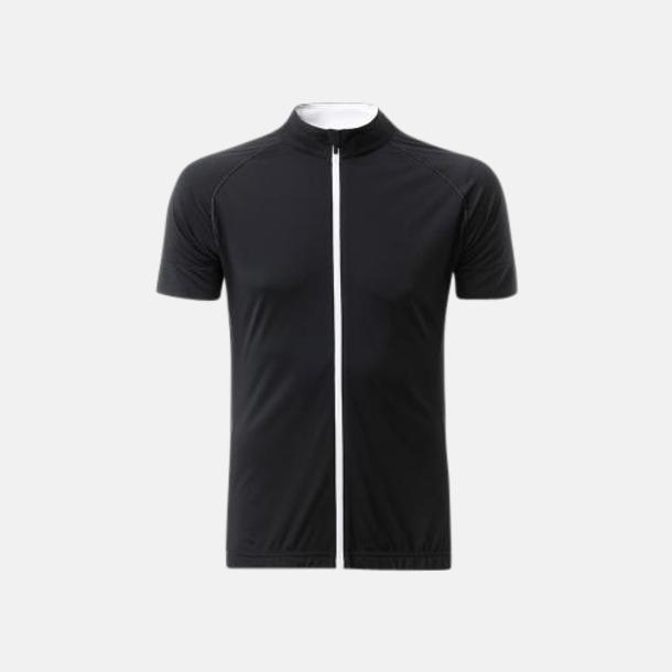 Svart/Vit (herr) Tvåfärgade cykeltröjor med hel dragkedja med reklamtryck
