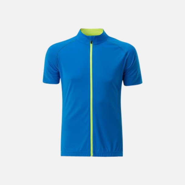 Bright Blue/Bright Yellow (herr) Tvåfärgade cykeltröjor med hel dragkedja med reklamtryck
