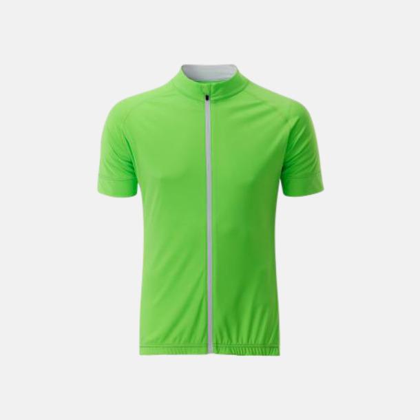 Bright Green/Vit (herr) Tvåfärgade cykeltröjor med hel dragkedja med reklamtryck