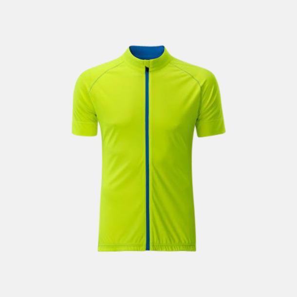Bright Yellow/Bright Blue (herr) Tvåfärgade cykeltröjor med hel dragkedja med reklamtryck