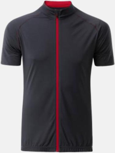 Titanium/Tomato (herr) Tvåfärgade cykeltröjor med hel dragkedja med reklamtryck