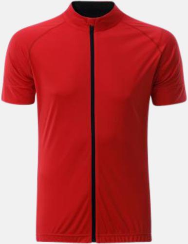 Tomato/Svart (herr) Tvåfärgade cykeltröjor med hel dragkedja med reklamtryck