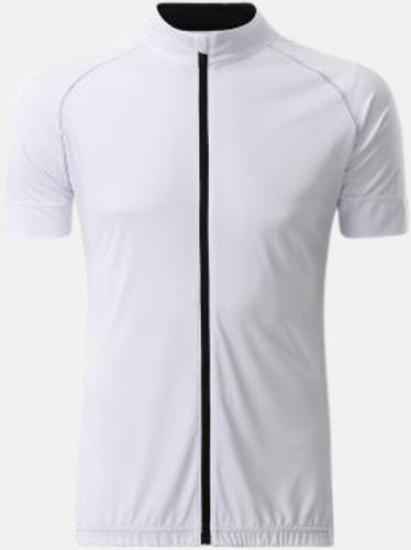 Vit/Svart (herr) Tvåfärgade cykeltröjor med hel dragkedja med reklamtryck