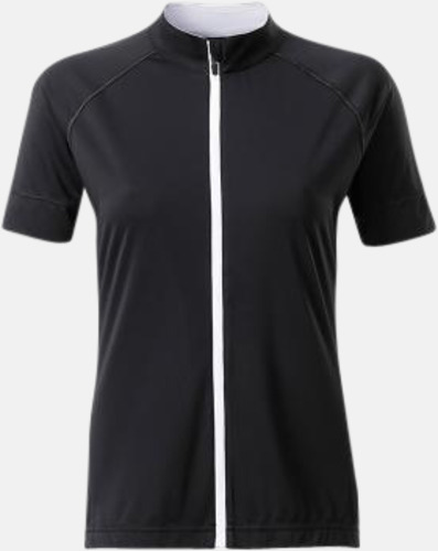 Svart/Vit (dam) Tvåfärgade cykeltröjor med hel dragkedja med reklamtryck
