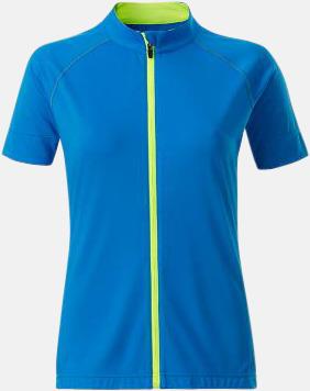 Bright Blue/Bright Yellow (dam) Tvåfärgade cykeltröjor med hel dragkedja med reklamtryck