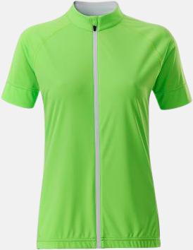 Bright Green/Vit (dam) Tvåfärgade cykeltröjor med hel dragkedja med reklamtryck