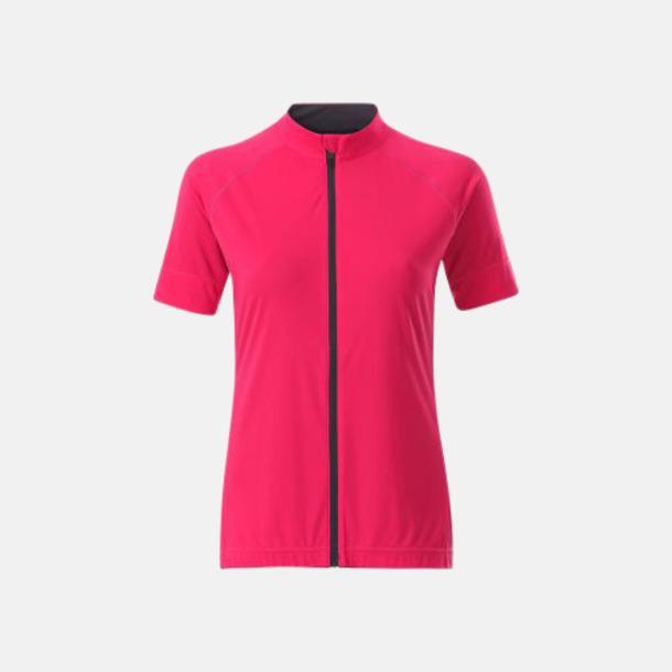 Bright Pink/Titan (dam) Tvåfärgade cykeltröjor med hel dragkedja med reklamtryck