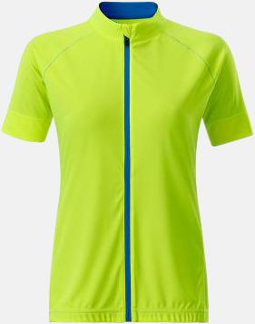 Bright Yellow/Bright Blue (dam) Tvåfärgade cykeltröjor med hel dragkedja med reklamtryck
