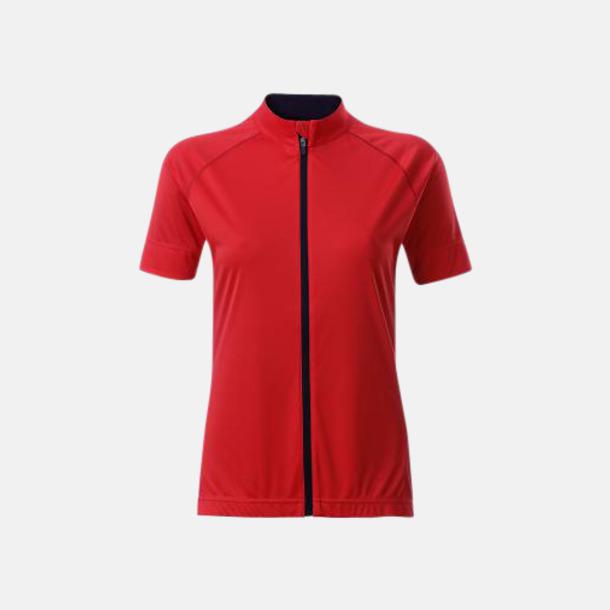Tomato/Svart (dam) Tvåfärgade cykeltröjor med hel dragkedja med reklamtryck
