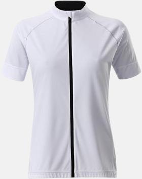Vit/Svart (dam) Tvåfärgade cykeltröjor med hel dragkedja med reklamtryck