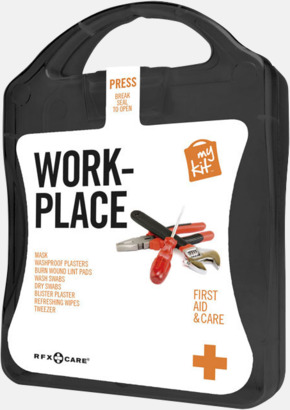 Svart Första hjälpen kit for arbetsplatser - med reklamtryck