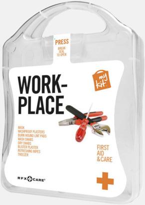 Vit Första hjälpen kit for arbetsplatser - med reklamtryck