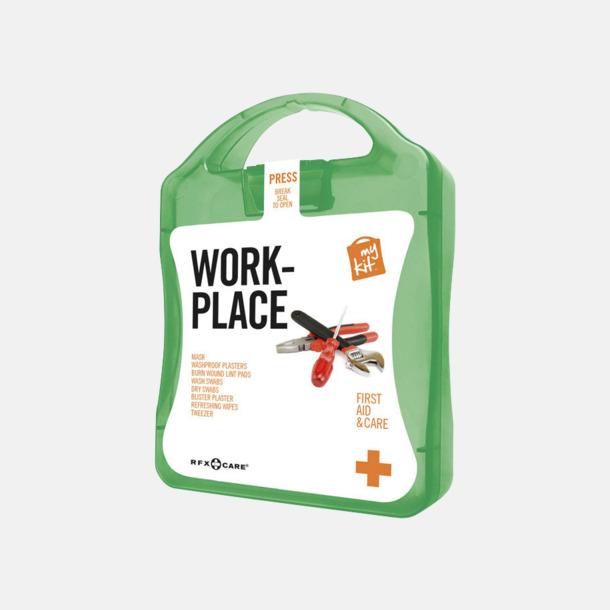 Grön Första hjälpen kit for arbetsplatser - med reklamtryck